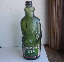 GREEN POLAND SPRING DRY GIN LEWISTON,MAINE FIGURAL MOSES BOTTLE W/LABEL & LID
