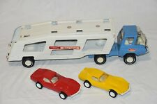 Vintage TONKA Pressed-Steel Car Carrier Truck & Trailer with (2) Corvette Cars