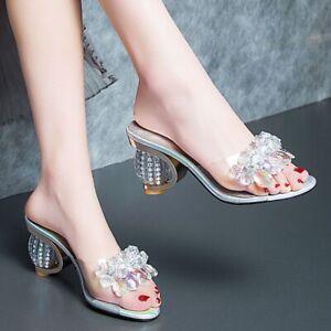Womens Slip On Casual Rhinestone Sandals Clear Block Heels Slippers Summer Shoes