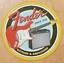 FENDER Guitars Amplifiers Round Sign Tin Vintage Garage Bar Decor Old Rustic NEW