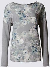 NEW Ex Per Una M&S Ladies Grey Floral Chiffon Everyday Summer Top Size 10 - 24