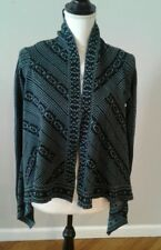 NWT Wendy Bellissimo Small Asymmetrical Open Front Sweater Blue Black Maternity
