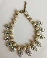 Statement Necklace Tan  & Clear Rhinestone Antique Gold Tone