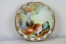 Nippon Hand Painted Bowl Peaches on Vine Gilt Fleur Di Lis Paneled Rim w Handles