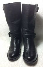 Prada Sz 6  Authentic Ankle Height Black Leather Boots  With Block Low Heel