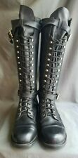 Men's Black Leather HARLEY DAVIDSON 98407 Motorcycle Boots Sz-9.5 Made in USA