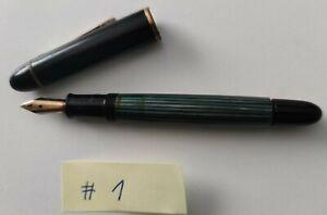 Pelikan Füller 140, Goldfeder 14 K 585 Kolbenfüller grün gestreift Schildpatt #1