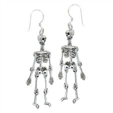 3D SKELETON skull Earrings Hook 925 Sterling Silver HALLOWEEN moveable large