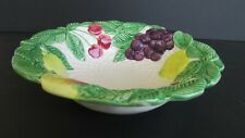 "Fitz and Floyd ""Fruit Fair"" 9"" Serving Bowl Basket Weave 1990 Ceramic"