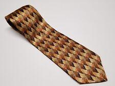 Mens Brown Beige Geometric Diamond Murano Italia Silk Tie Made in USA