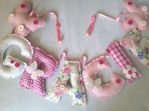 Personalised name banner bunting wall/door hang child baby nursery PER LETTER