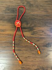 Native American bolo tie seed bead orange Red