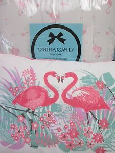 CYNTHIA ROWLEY Kids 4pc White Pink Flamingo Floral Comforter Set - Full/Queen
