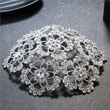 """7"""" (18cm) Wide Large Flower Crytal Wedding Bridal Party Pageant Prom Tiara Crown"""