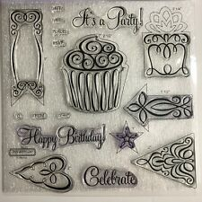 Celebration D1497 Party Birthday Cricut Artful Coordinates CTMH Clear Stamps