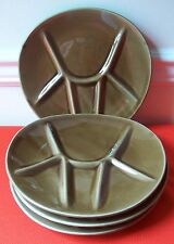 4 NIDERVILLER FRANCE DIVIDED FONDUE GRILL PLATES TRIANGULAR ? DISH BROWN STAMPED