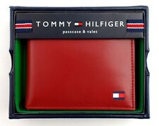 Tommy Hilfiger Men's Leather Credit Card Wallet Passcase Bifold Red 31TL22X046
