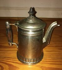 Antique Coffee Pot Nickel plated over Copper late 1800's Cowboy Western Decor