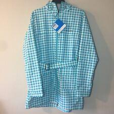 NWT Columbia Sports Co Turquiose White Checks Hooded Raincoat Jacket XL $100