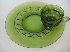 "Vintage Green Depression Glass Plate & Cup Set, Tiffin ""Thumb Print"" Design"