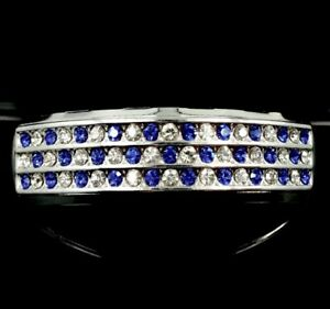NEW Platinum/Silver Style Top Teeth BLUE Simulated Diamond Grills Hip Hop Grillz