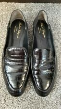 Robert Clergerie Womens Black Crocodile-Effect Leather Loafers Size 38.5 (EU)