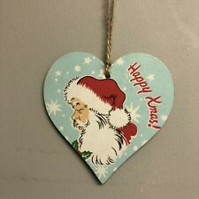 Cath Kidston Christmas Decorations wooden hanging Heart Plaque Sign