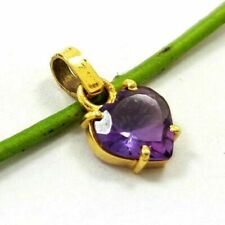 NATURAL AMETHYST GEMSTONE 14 KT YELLOW GOLD HANDMADE PENDANT JEWELRY #AU116