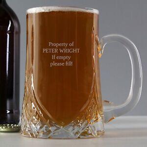 Personalised Pint Cut Crystal Tankard Beer Alcohol Drink Mug Jug