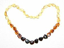 Genuine Baltic amber adult necklace, rainbow leaves beads 45 cm /17.72 inch