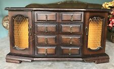 Large Vintage Himark Japan Wood JEWELRY BOX Chest 8 Drawers Necklace Organizer