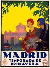 Madrid Temperada de Primavera Spain Vintage Spanish Travel Advertisement Poster
