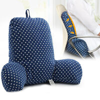 Bed Rest Reading Pillow Bed Sofa Office Chair Lounger Back Rest Support Blue