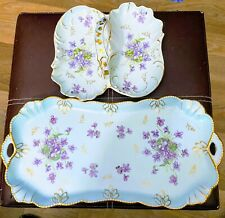 Limoges France Turquoise Violets Rectangular Dresser Tray & Handled Basket Gold