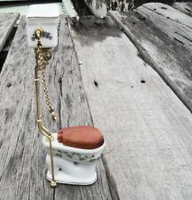 Dollhouse miniatures Bathroom furniture 1:12 Porcelain Toilet Metal Chain Luxury