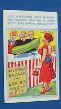 Risque Comic Postcard 1940s Allotment Vicar Garden Party PRIZE MARROW Big Boobs