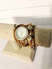 Geneva womens wrap around watch leather, rhinestones & studs