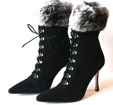 GORGEOUS NEW BLACK SUEDE MANOLO BLAHNIK BOOTS WITH FUR TRIM