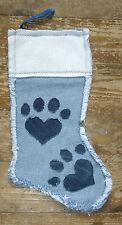 Fatto a mano jenniwren Originals Denim Paw Print Gatto/Cane Animale domestico Calza Natale
