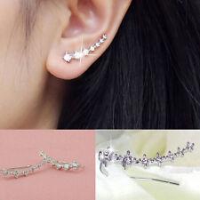 New Punk Rock Rhinestone ear cuff wrap earring Silver piercing ear cartilage