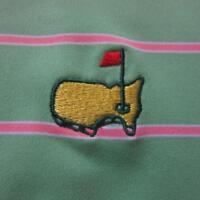 Peter Millar XL Masters Summer Comfort Green Pink Stripe Polo Golf Shirt Augusta