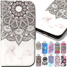 For Huawei Apple iPhone Embossed Varnish Wallet PU Leather Stand Card Case Cover