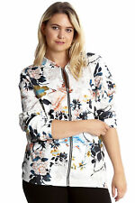 Womens Plus Size Bomber Jacket Ladies Oriental Chinese Print Floral Nouvelle White 22-24