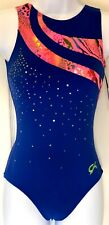 GK RADIANT WAVE ADULT X-SMALL ROYAL N/S SUNSET FOIL GYMNASTICS TANK LEOTARD AXS