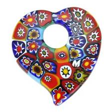 GlassOfVenice Murano Glass Elegant Millefiori Heart Pendant - Multicolor