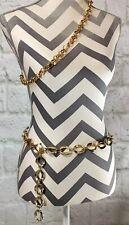 (2) Vintage Women's Gold Tone Metal Chain Link Belts