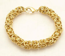 "8"" Bold Heavy Round Byzantine Bracelet 14K Yellow Gold Clad Stainless Steel"