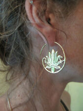 Gold Plated Large Brass Hoops Earring Vintage Gypsy Tribal Fashion Jewelry Q24