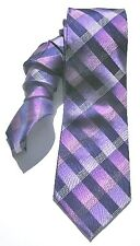 NEW Mens Silk Tie Necktie Purple Navy Blue Marina Plaid Alfani A1645
