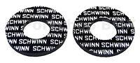 Schwinn old school BMX bicycle grip foam donuts WHITE on BLACK (LICENSED)